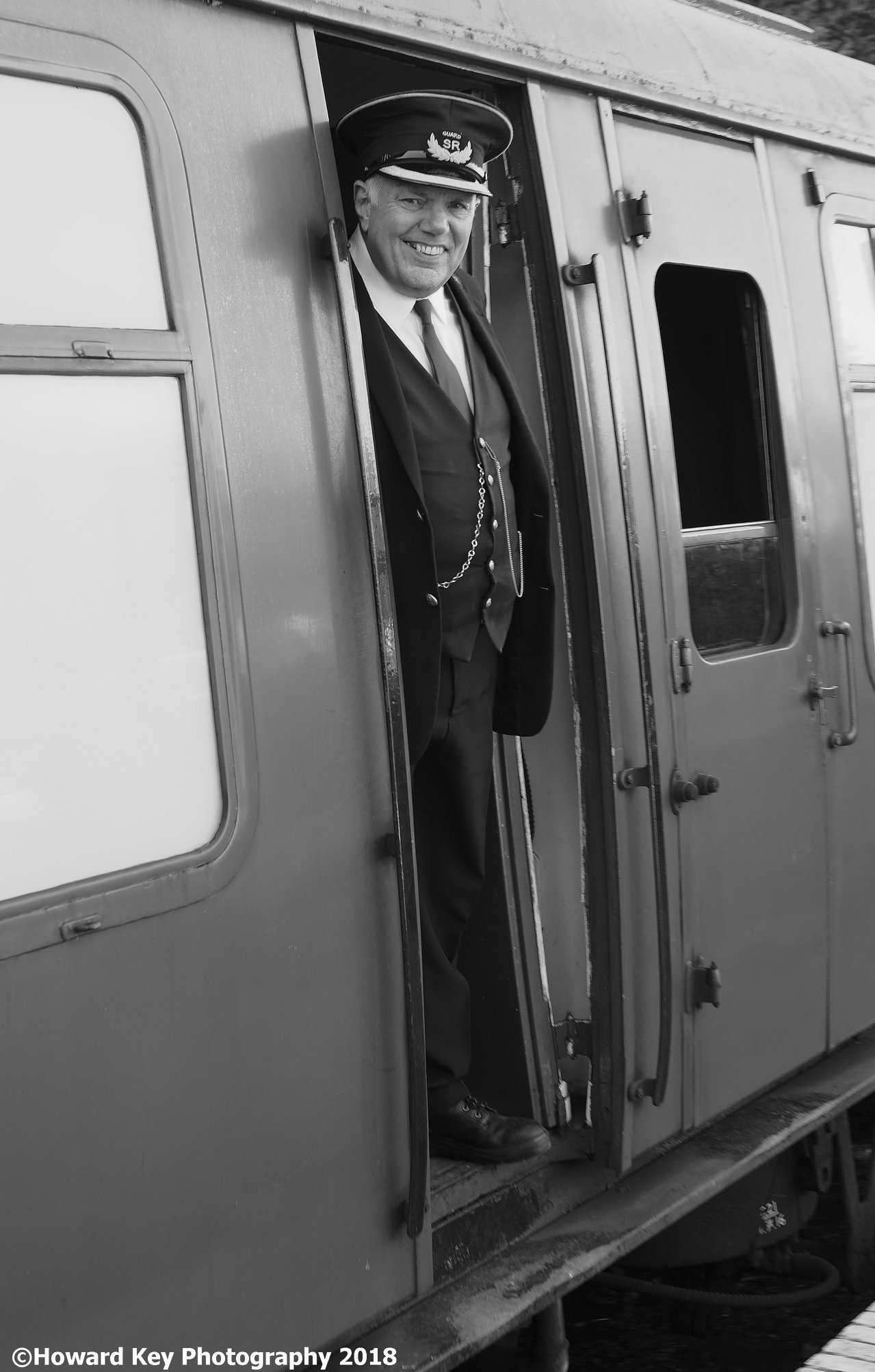 an image of Roger key dressed as a guard at the Watercress Line